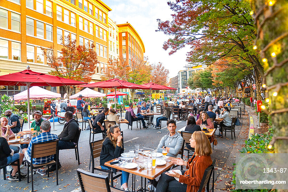 Pandemic outdoor dining in the streets of Bethesda, Maryland, United States of America, North America