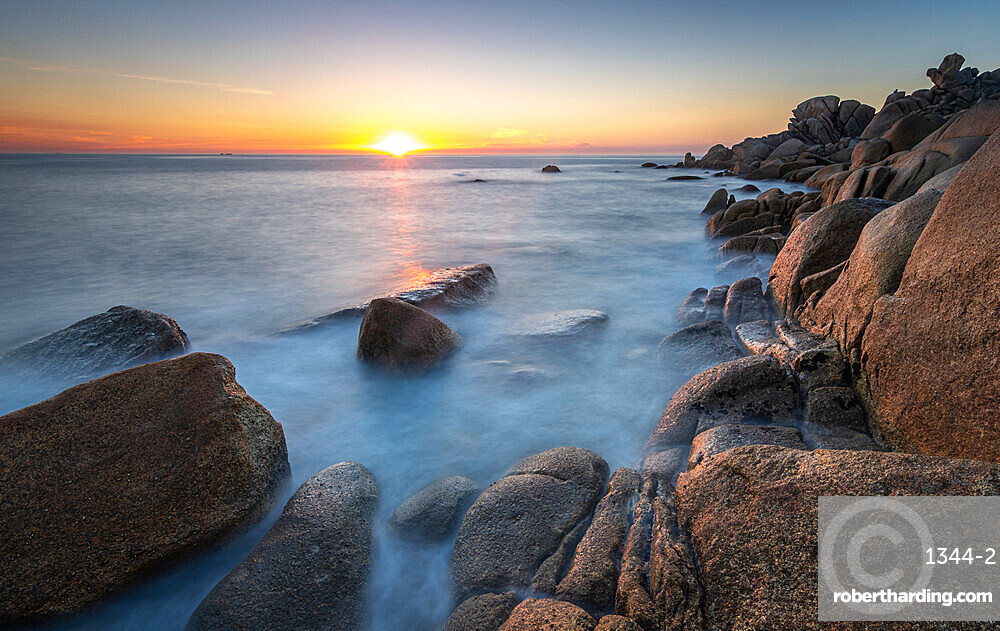 Sunset from the rocky coast in Couso, La Coruna, Galicia, Spain, Europe