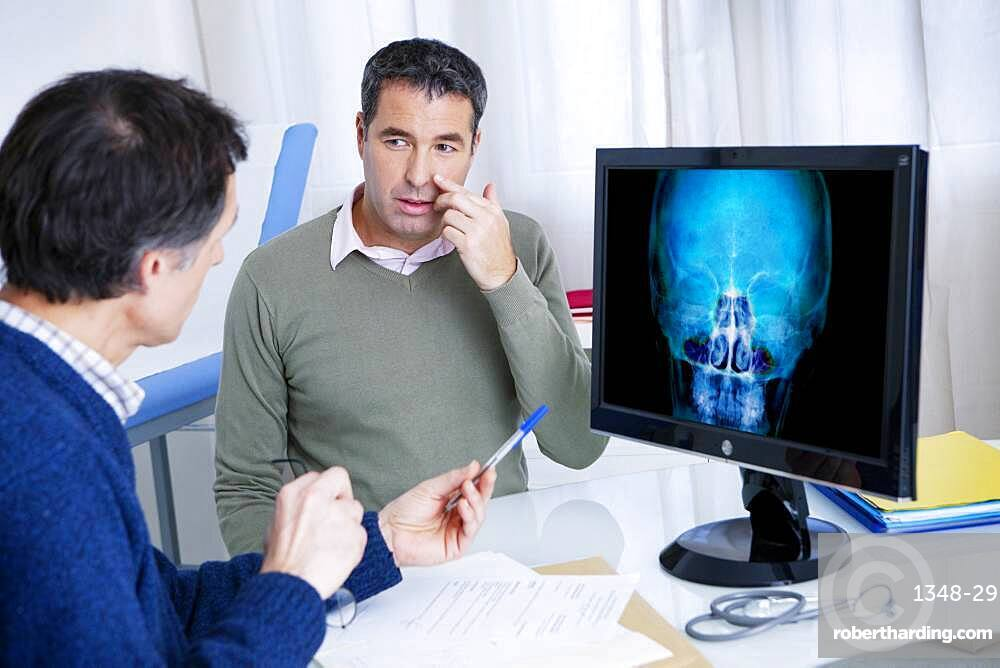 Male patient consulting for sinusitis.