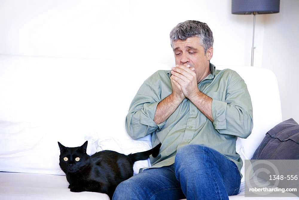 Allergic man to cats.