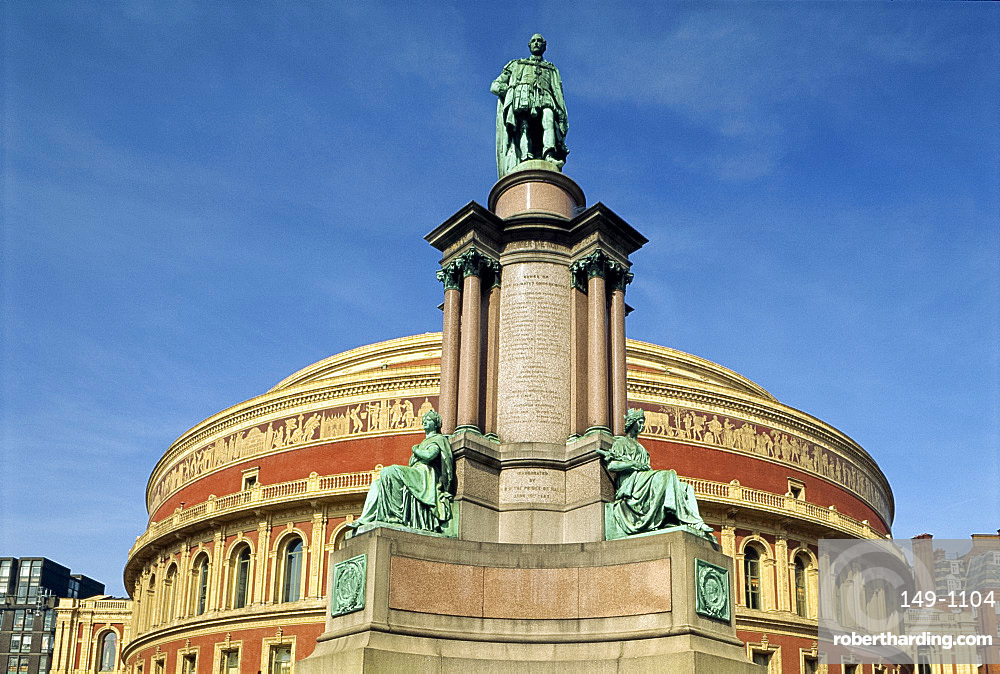 Memorial before the Royal Albert Hall, built in 1871 and named after Prince Albert, Queen Victoria's consort, Kensington, London, England, United Kingdom, Europe