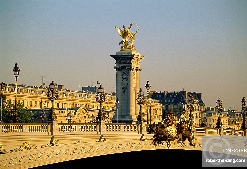 The Pont Alexandre III and monument behind, Paris, France, Europe