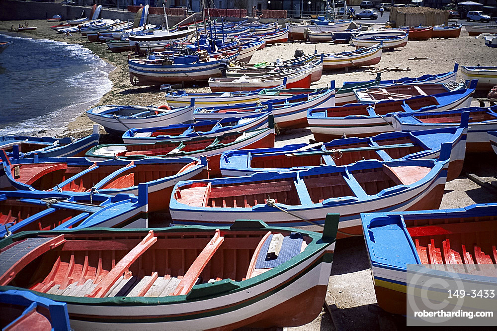 Small fishing boats, Aspra, Sicily, Italy, Europe
