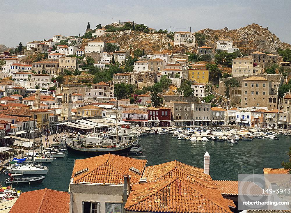 Harbour, Hydra, Argo Saronic Islands, Greek Islands, Greece, Europe
