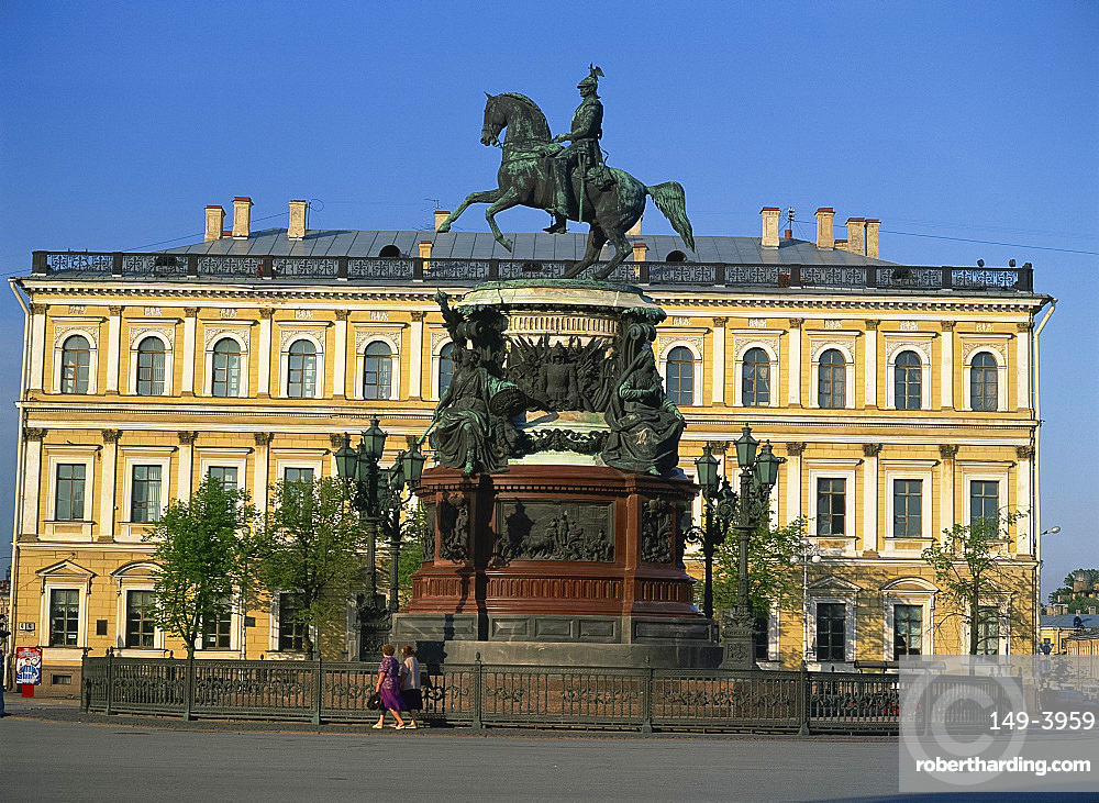 Statue of Nicholas I on horseback in St. Isaac's Square in St. Petersburg, Russia, Europe