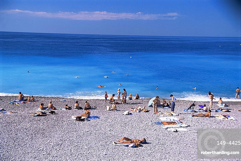 Beach, Menton, Alpes-Maritimes, Cote d'Azur, French Riviera, Provence, France, Mediterranean, Europe