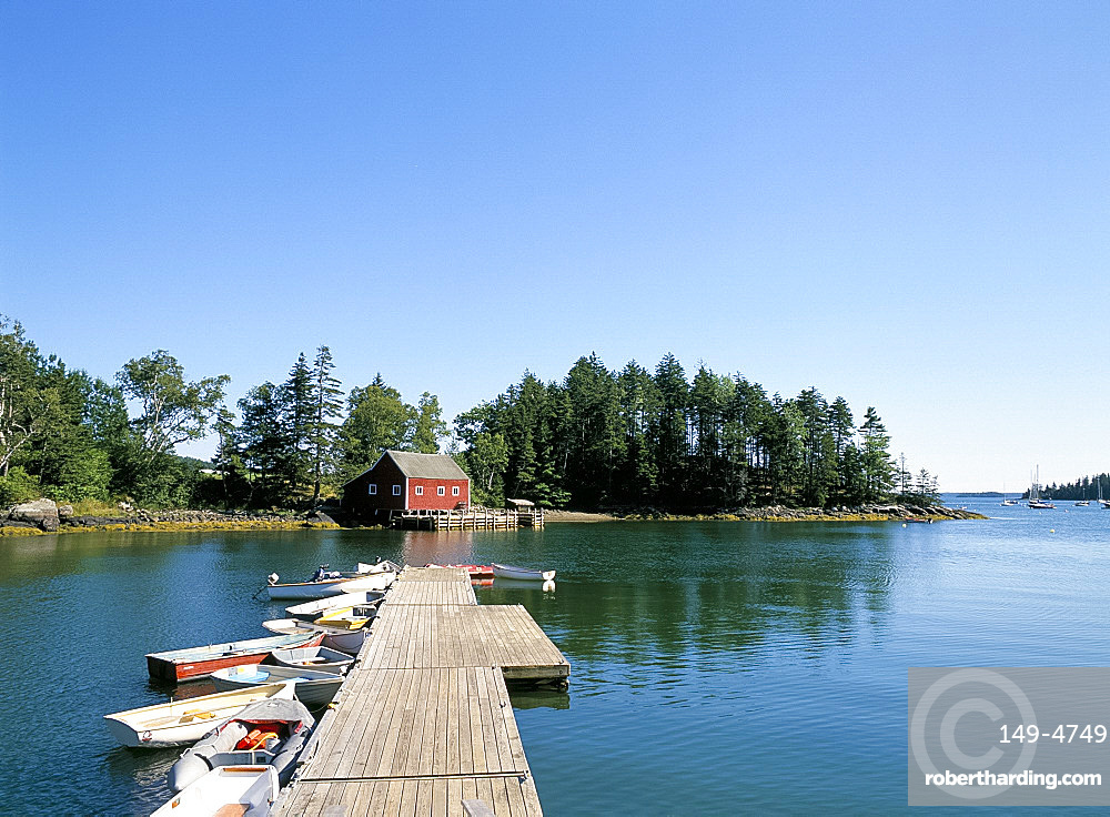 Old wood pier and boats in the harbour, South Brooksville, Maine, New England, United States of America, North America