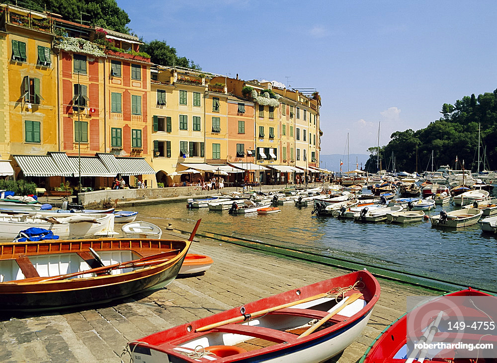 Old buildings and boats in the harbour at Portofino, Liguria, Italy
