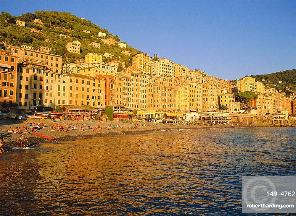Colourful old buildings on the seafront at Camogli, Liguria, Italy