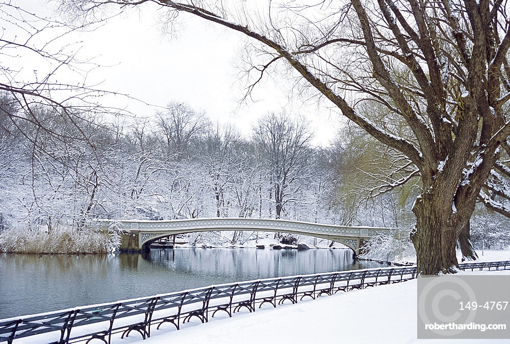 The Bow Bridge in Central Park after a snowstorm, New York City, New York, USA