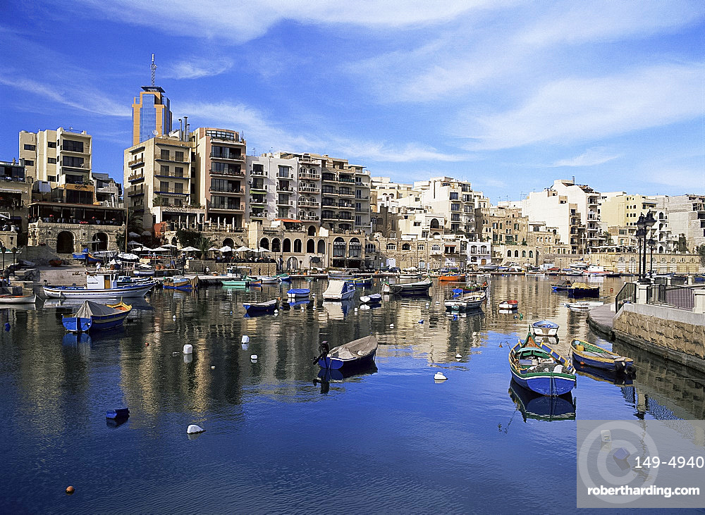 The harbour at St. Julian's Bay, Malta, Mediterranean, Europe