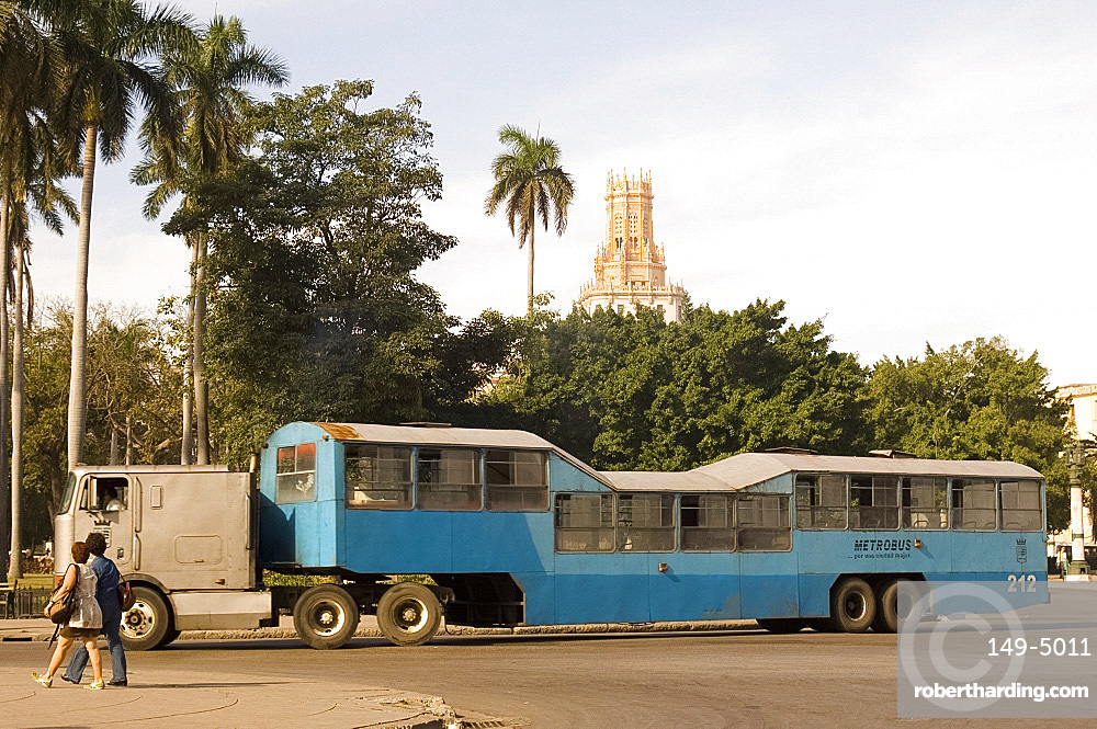 A camello bus in central Havana, Cuba, West Indies, Central America