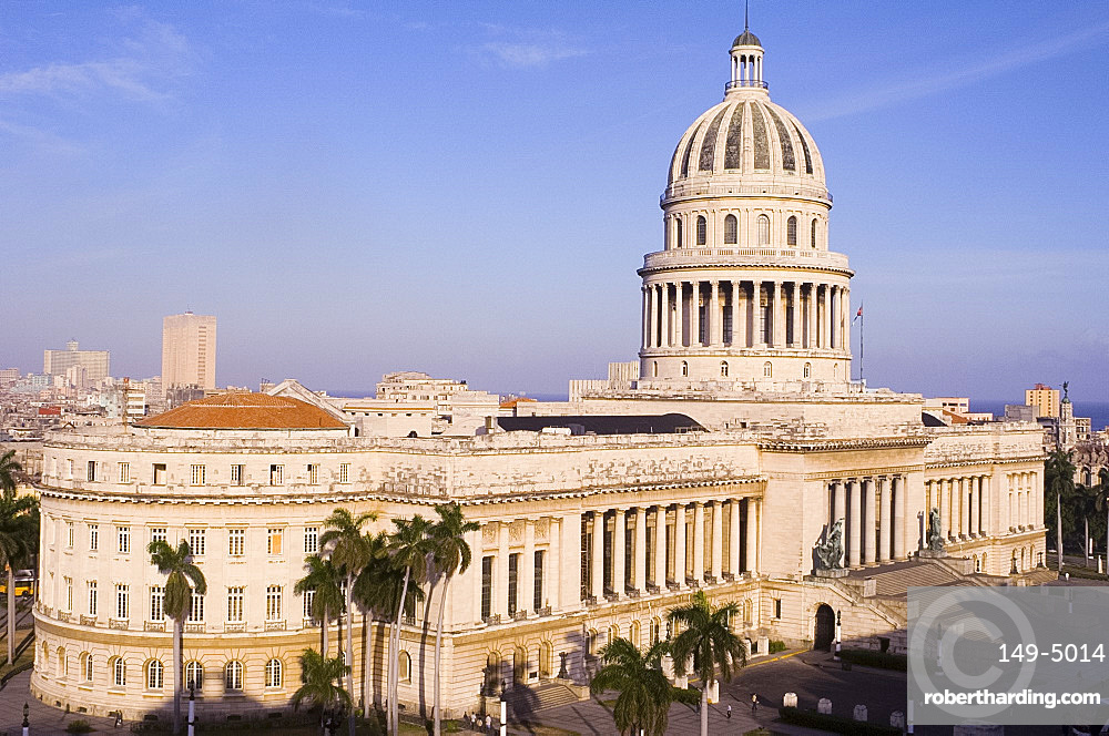 An aerial view of the Capitolio from the Hotel Saratoga in central Havana, Cuba, West Indies, Central America