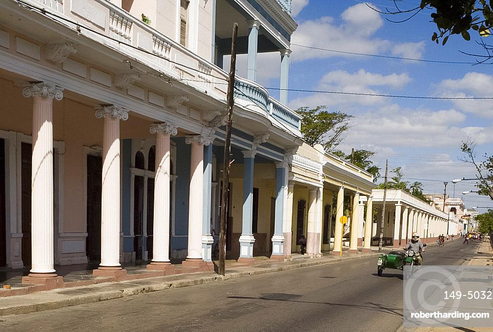 Rows of columns in the Paseo del Prado, the main avenue, Cienfuegos, Cuba, West Indies, Central America