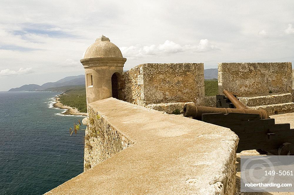 A triangular lunette at the Castillo del Morro, a fortess at the entrance to the Bay of Santiago, UNESCO World Heritage Site, 10 km southwest of Santiago de Cuba, Cuba, West Indies, Central America