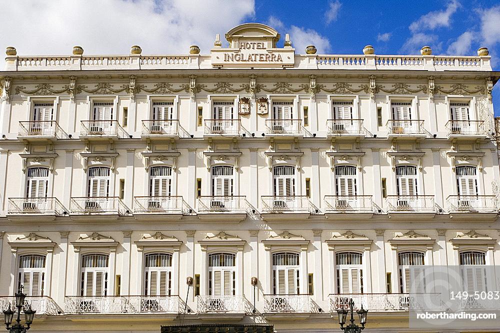 Exterior of the Inglaterra Hotel, Havana, Cuba, West Indies, Central America