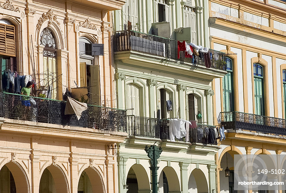 Restored buildings along the Paseo de Marti in central Havana, Cuba, West Indies, Central America