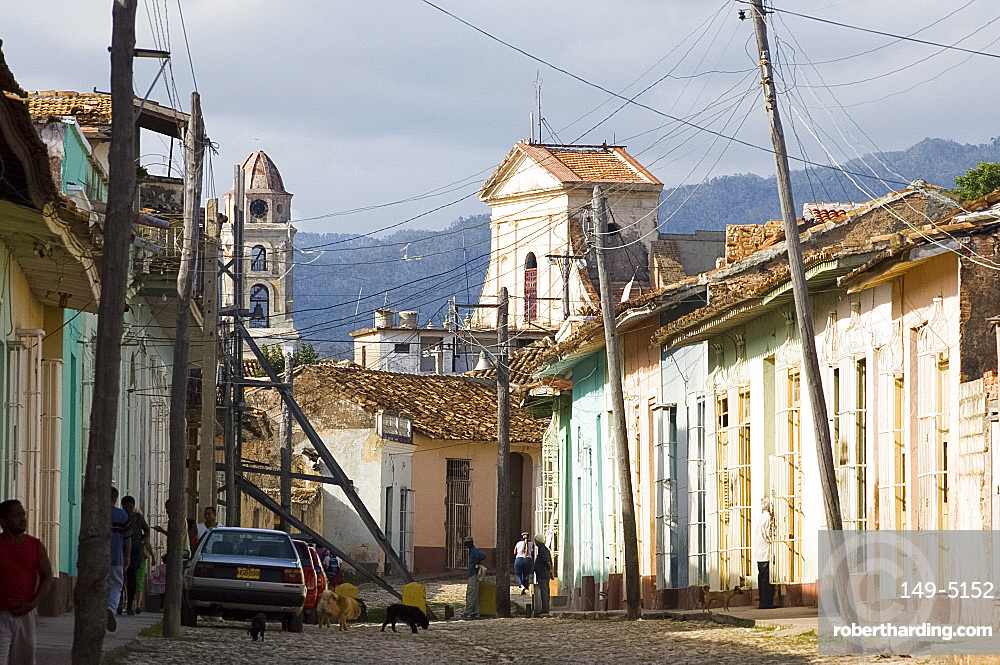A cobblestone street in Trinidad, UNESCO World Heritage Site, Cuba, West Indies, Central America