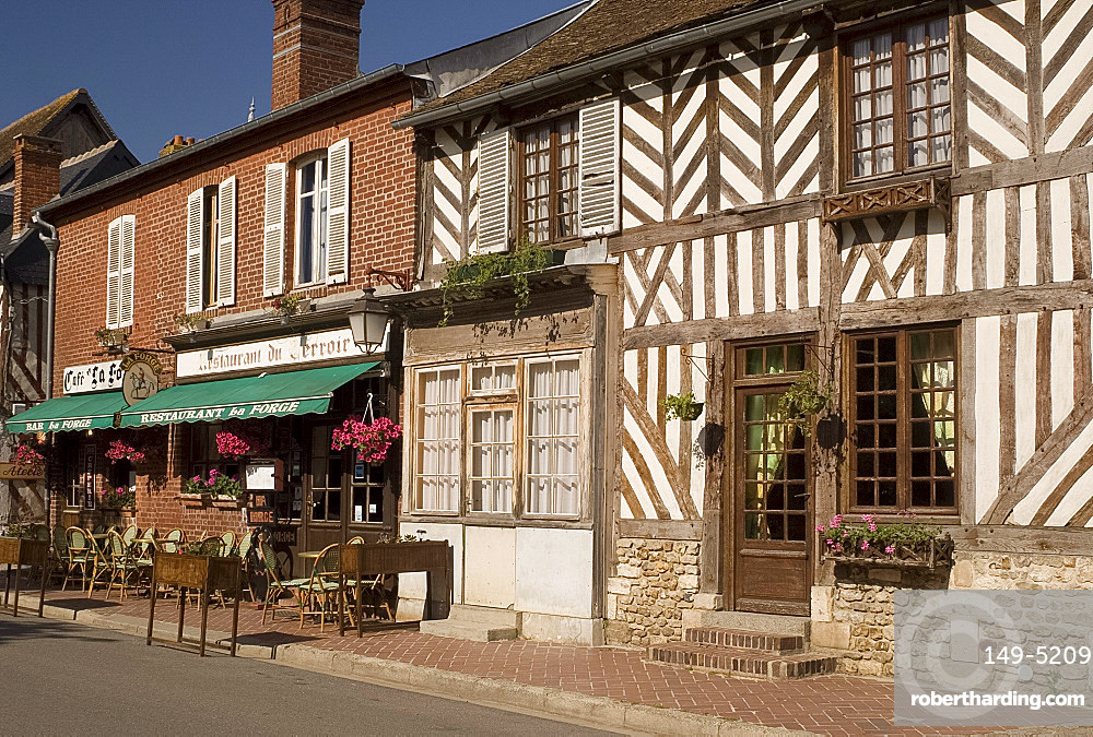 A cafe and half timbered house in Beauvron en Auge, Normandy, France, Europe