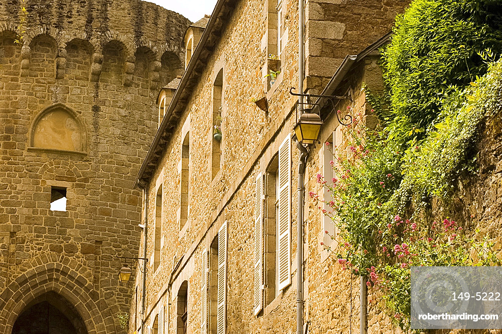 The fortress and old stone house in Dinan, Brittany, France, Europe