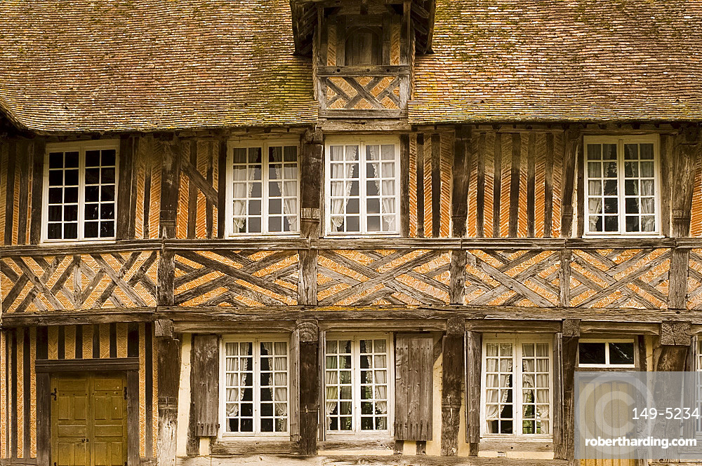 The half timbered manoire and surrounding moat in Coupesarte, Normandy, France, Europe