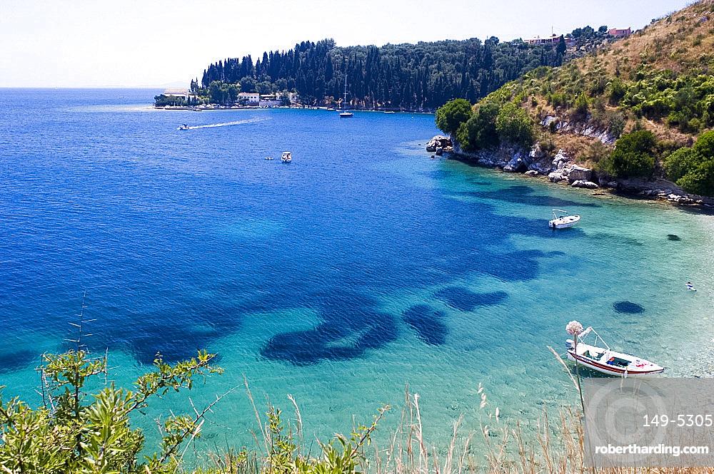 View toward Kouloura on the northeast coast of Corfu, Ionian Islands, Greek Islands, Greece, Europe