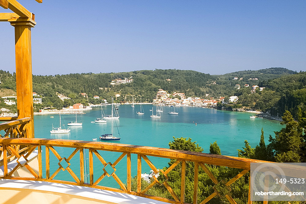 View of the harbour from the terrace of a villa, Lakka, Paxos, Ionian Islands, Greek Islands, Greece, Europe