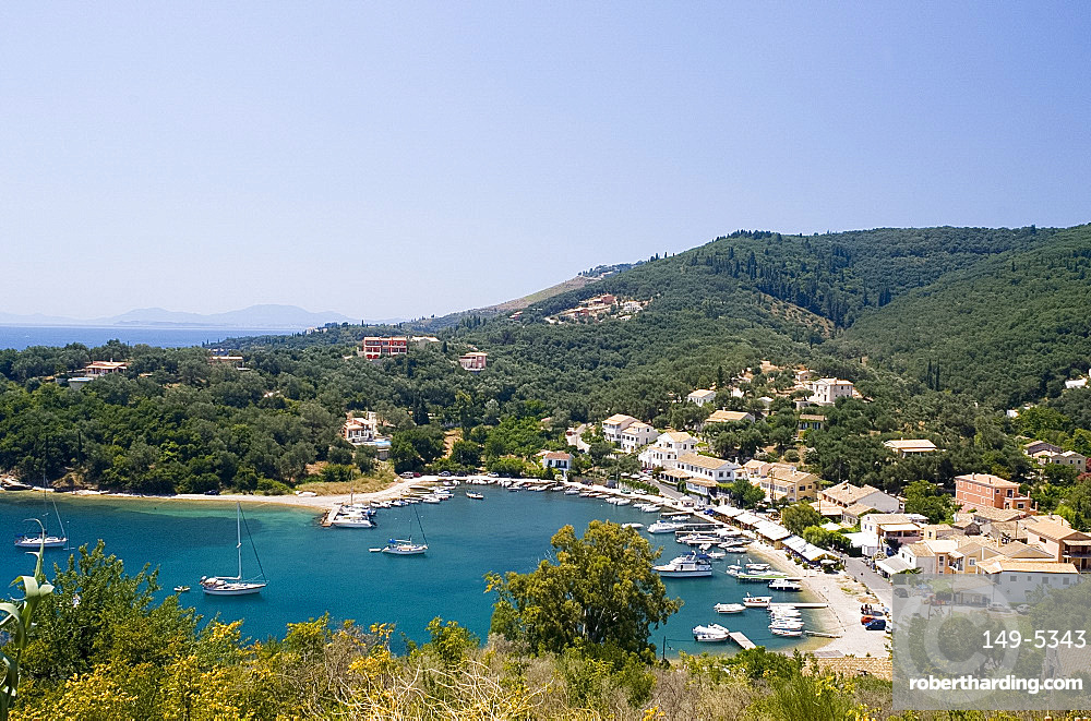 View looking down on the harbour at Ayios Stefanos, northeast coast, Corfu, Ionian Islands, Greek Islands, Greece, Europe
