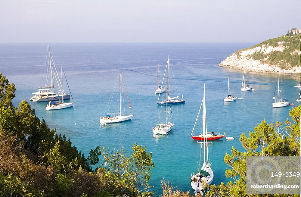 Sailboats in the harbour at Lakka, Paxos, Ionian Islands, Greek Islands, Greece, Europe