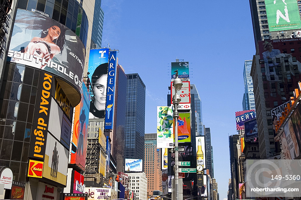 Billboards and modern highrise buildings in Times Square, New York City, New York, United States of America, North America