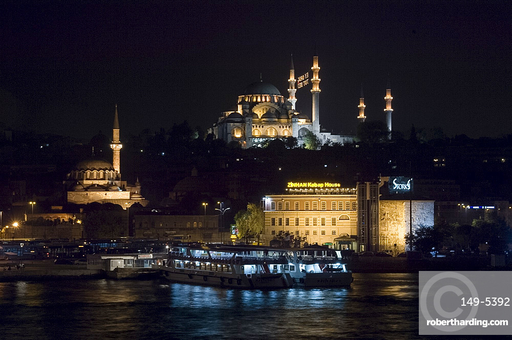 City skyline at night including the Sulemaniye Mosque and Rustem Pasa Mosque, Istanbul, Turkey, Europe, Eurasia