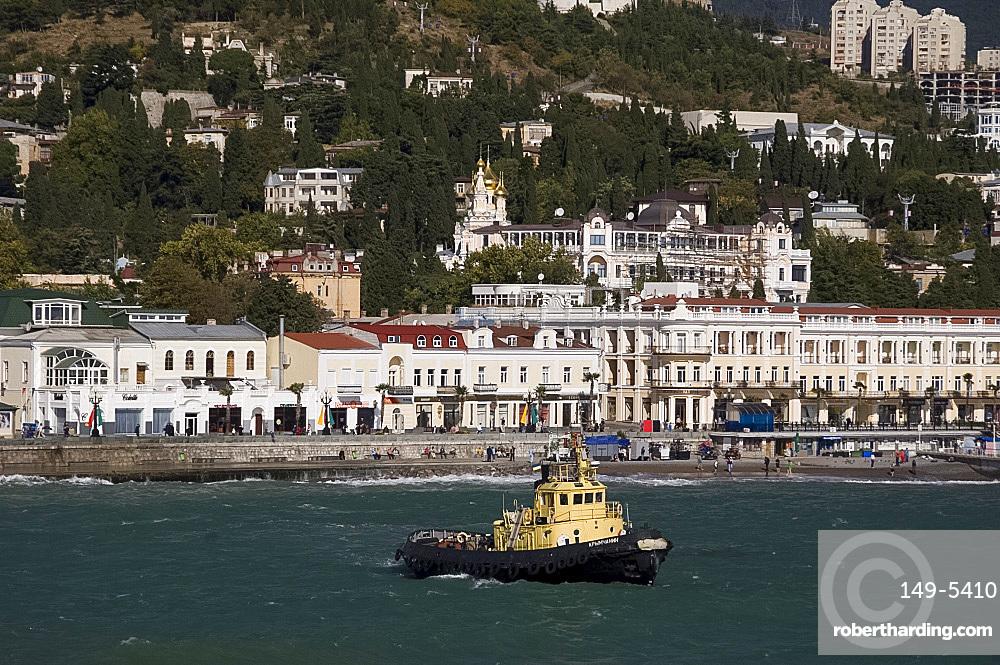A view of Yalta from the ship, Yalta, Crimea, Ukraine, Europe