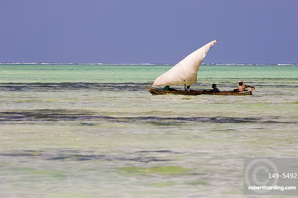A traditional wooden dhow with sail, Zanzibar, Tanzania, East Africa, Africa
