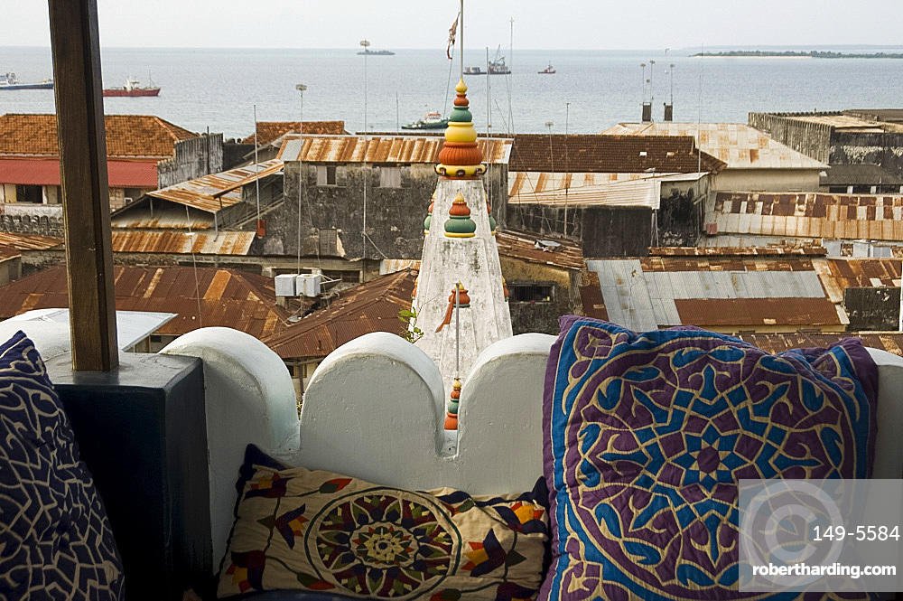 A view of Stone Town including the Hindu Temple from the roof terrace of 236 Hrumzi Hotel, formerly Emerson & Green, Stone Town, UNESCO World Heritage Site, Zanzibar, Tanzania, East Africa, Africa