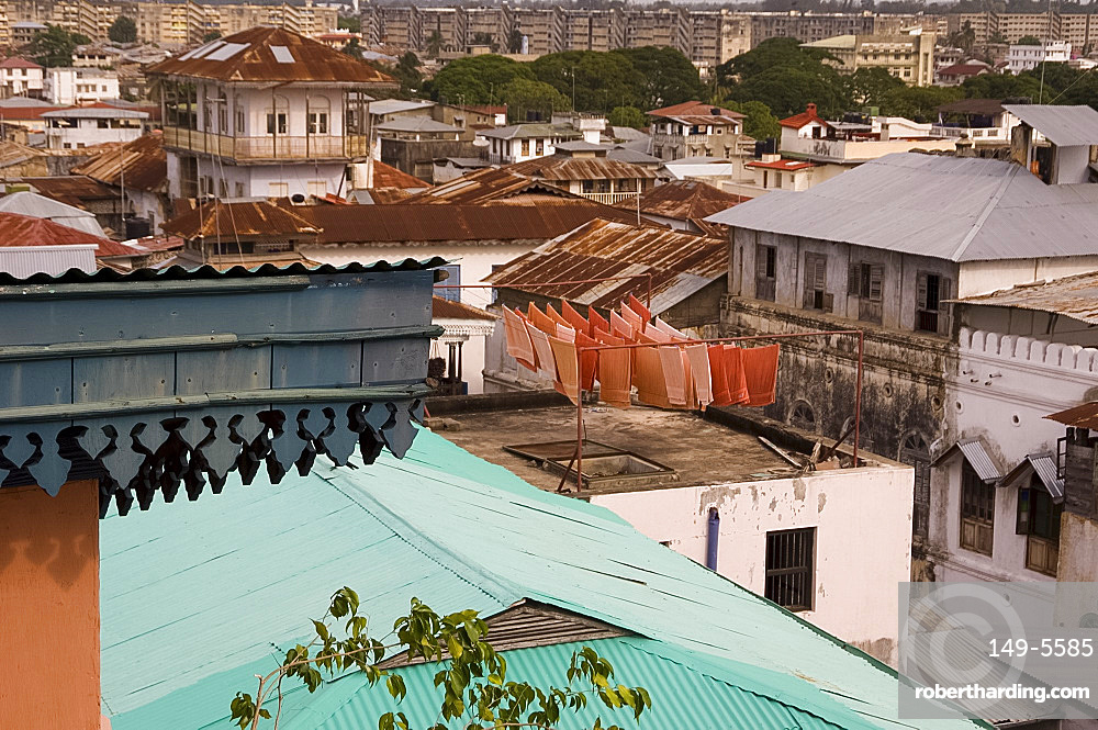 A view of Stone Town rooftops with towels drying on a roof, Stone Town, UNESCO World Heritage Site, Zanzibar, Tanzania, East Africa, Africa