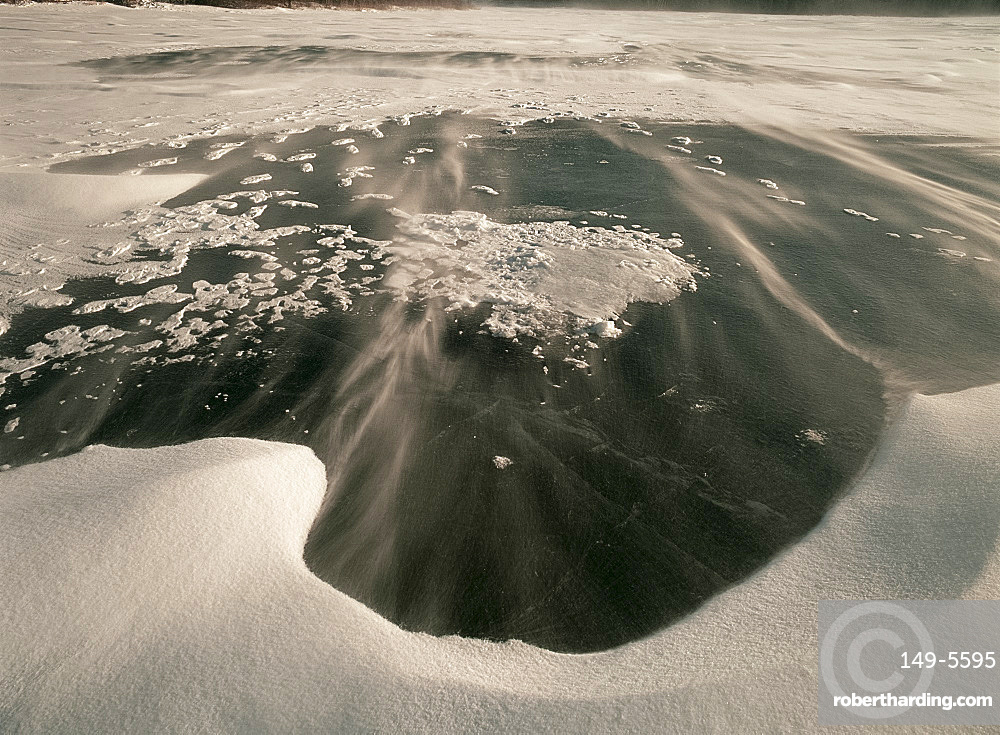 Ice and blowing snow on Lake Myosotis, Rensselaerville, New York State, United States of America, North America