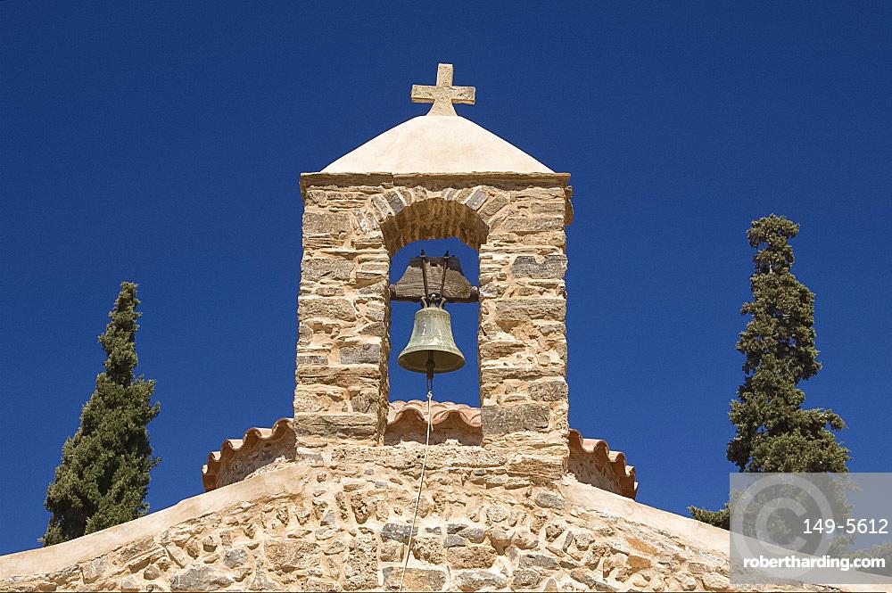 The small stone Byzantine Church of Agios Nikolaos in the grounds of the Minos Palace Hotel near the town of Agios Nikolaos, Crete, Greek Islands, Greece, Europe