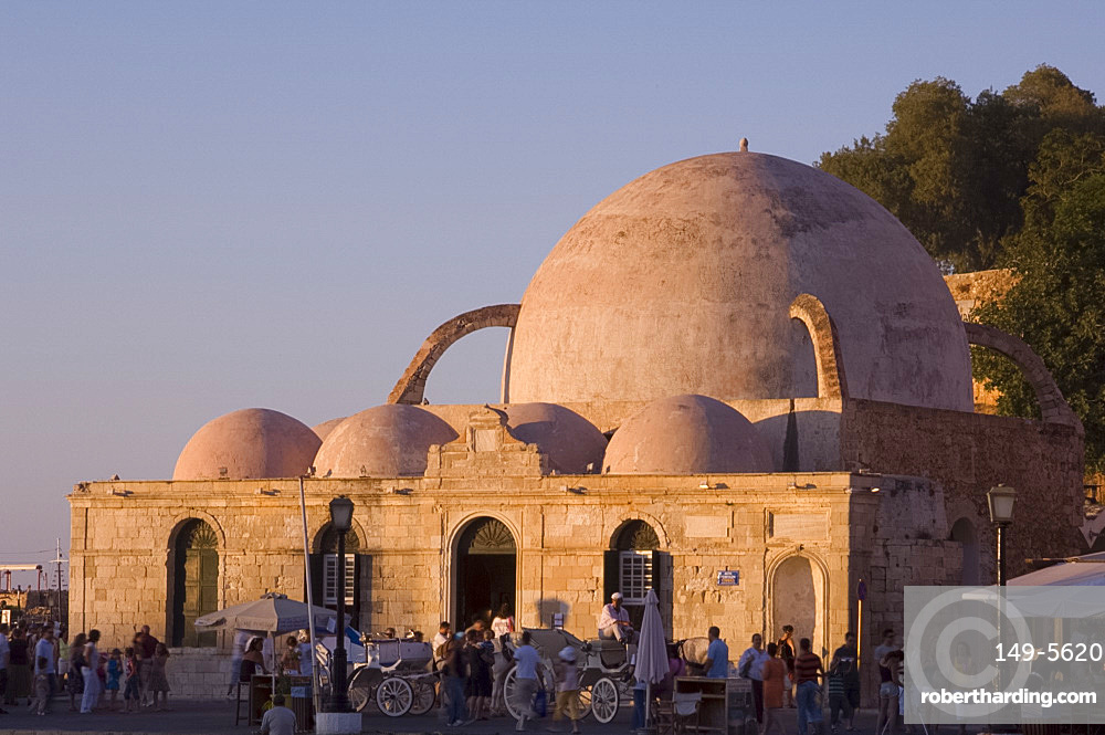 The Ottoman Mosque of Kutchuk Hasan on the harbour in the old town section of Hania, Crete, Greek Islands, Greece, Europe
