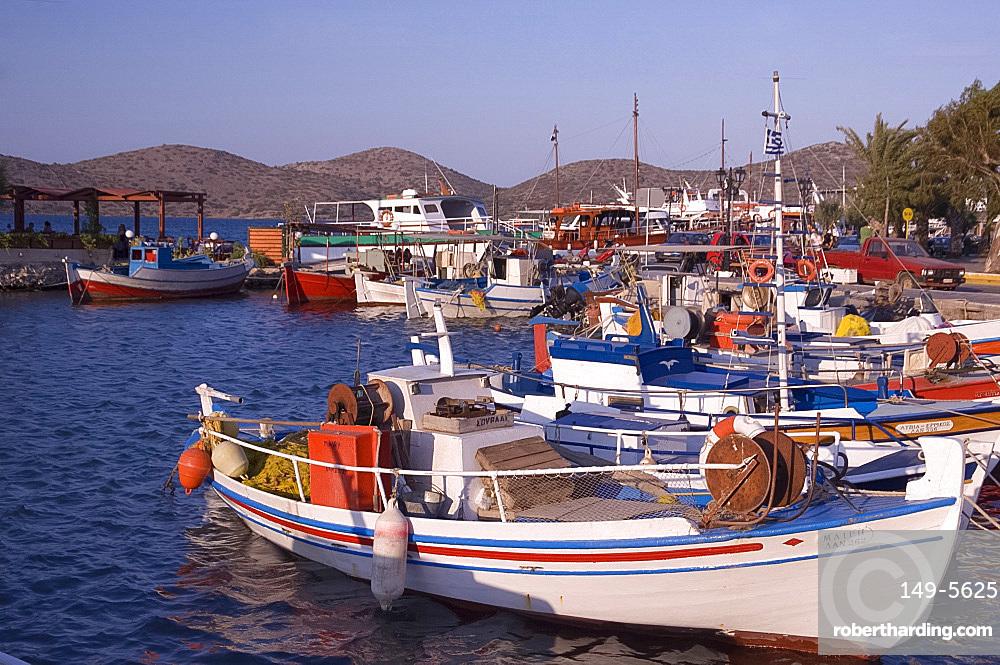 Fishing boats in the harbour in Elounda in Eastern Crete, Greek Islands, Greece, Europe