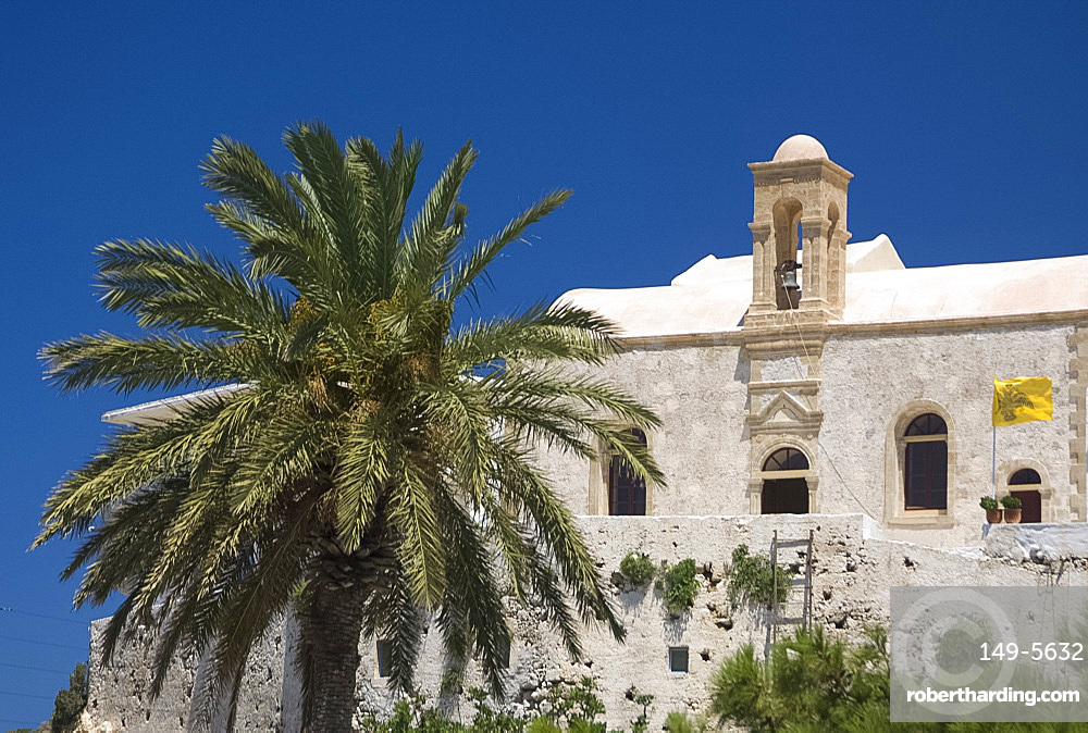 The Monastery of the Virgin of the Golden Step at Hrissoskalitissa on the coast of western Crete, Greek Islands, Greece, Europe