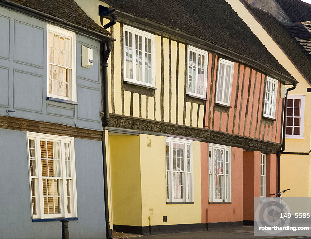 Pastel coloured timber frame houses in Coggeshall, Essex, England, United Kingdom, Europe