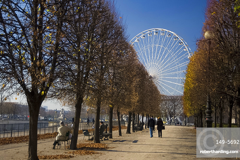 The holiday carousel and Tuileries Garden, Paris, France, Europe