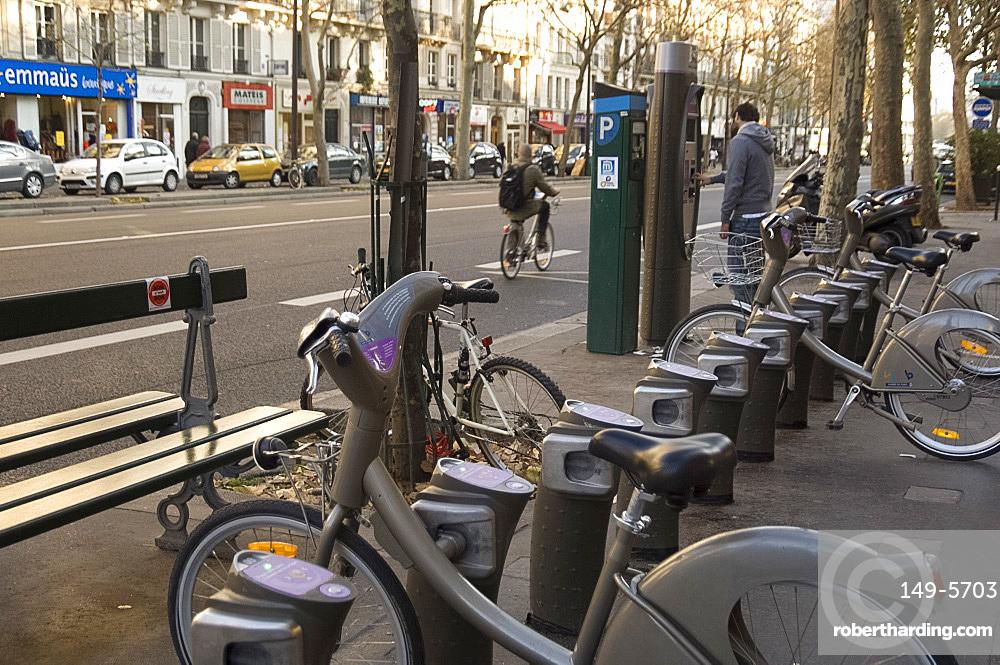 Velib public bicycles for rent on a Paris street, Paris, France, Europe