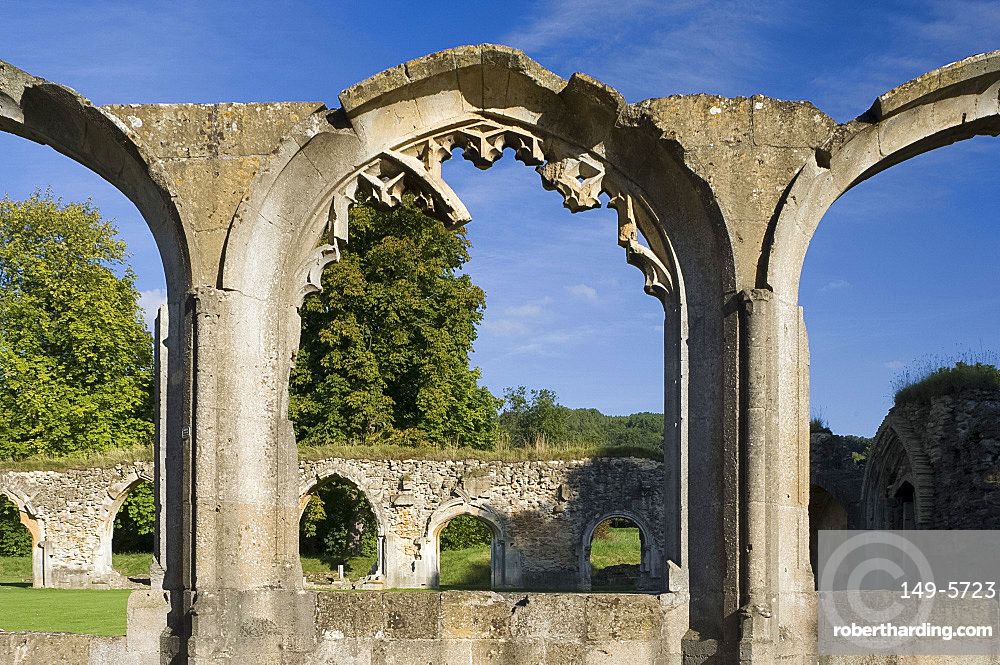 A view of the stone arches at the ruins of Winchcombe Abbey, Cheltenham, Gloucestershire, England, United Kingdom, Europe