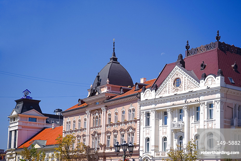 Restored buildings in the old town section of Novi Sad, Serbia, Europe