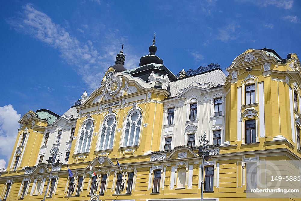 The ornate Town Hall, Pecs, Hungary, Europe
