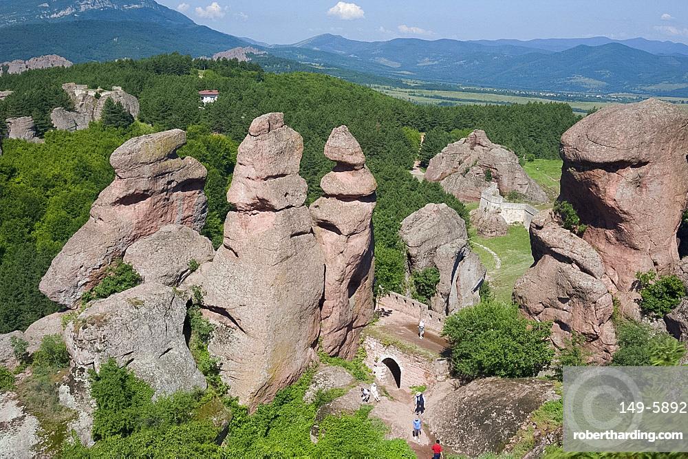 The towering natural rock formations at Belogradchik Fortress, Bulgaria, Europe