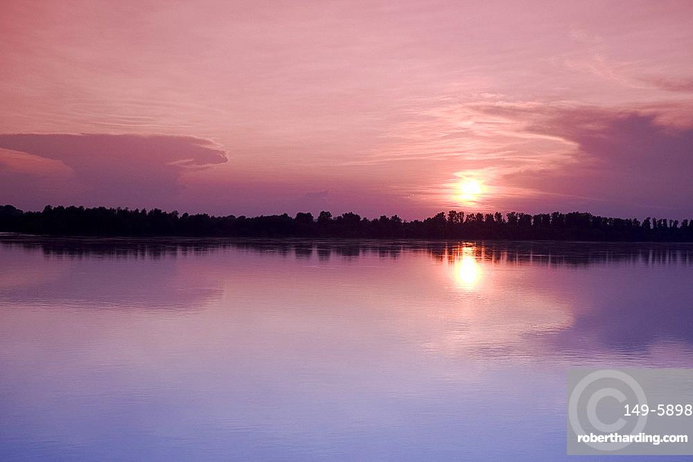 Sunset on the Danube River near Kalocsa, Hungary, Europe