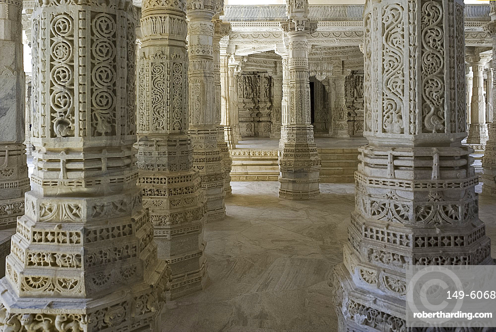 The intricately carved marble interior of the main Jain temple at Ranakpur, Rajasthan, India, Asia