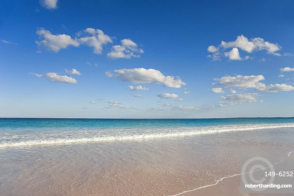 Gentle surf on Pink Sands Beach, Harbour Island, Eleuthera, The Bahamas, West Indies, Atlantic, Central America